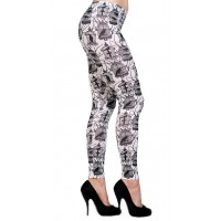 Birds And Cage White Leggings